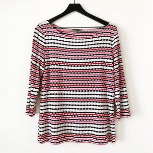 St. John | Black, Pink & Red Striped Blouse L